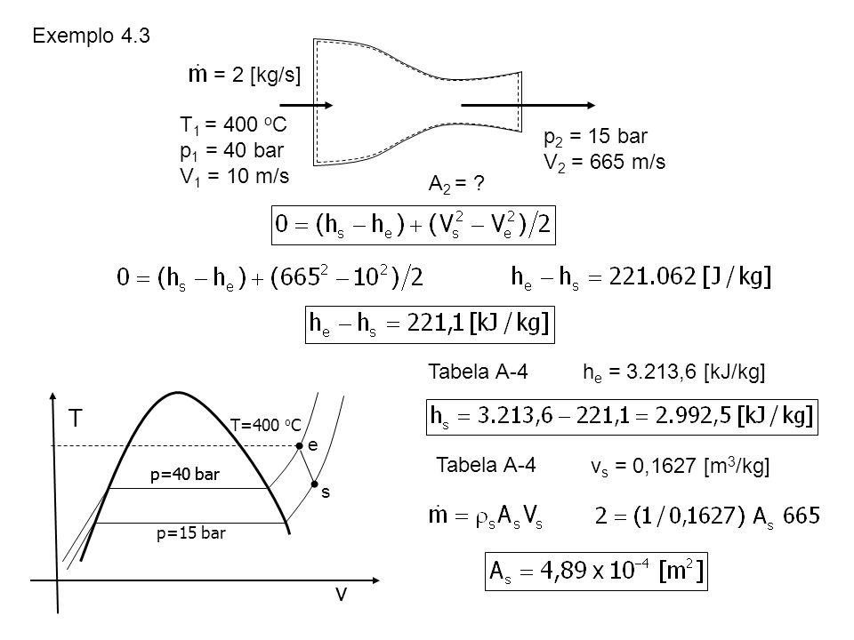 T v Exemplo 4.3 = 2 [kg/s] T1 = 400 oC p1 = 40 bar p2 = 15 bar